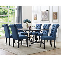 Soho 7-Piece Dining Set, Table + 6 Chairs, Blue