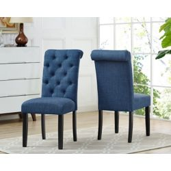 Brassex Inc. Soho Tufted Dining Chair in Blue (Set of 2)