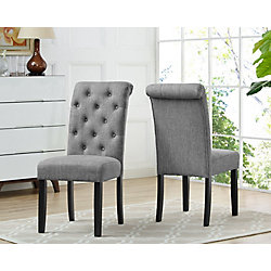 Brassex Inc. Soho Tufted Dining Chair in Grey (Set of 2)