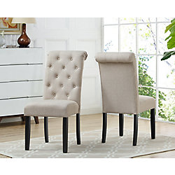 Brassex Inc. Soho Tufted Dining Chair in Beige (Set of 2)