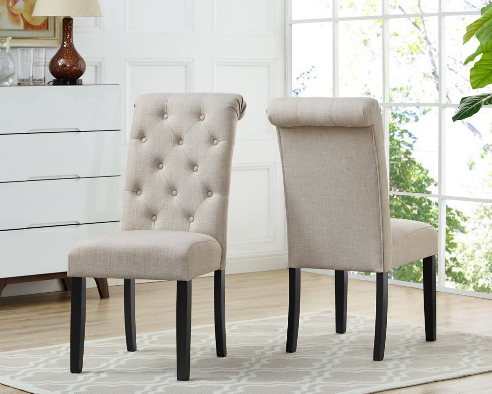 Brassex Inc. Soho Tufted Dining Chair, Set of 2, Beige