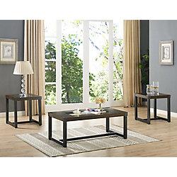 Brassex Inc. Alero 3-Piece Coffee Table Set, Dark Oak