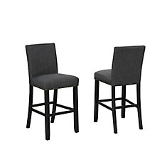 Tabouret de bar Indira 29 po avec garniture tête de clou, ensemble de 2, Grey