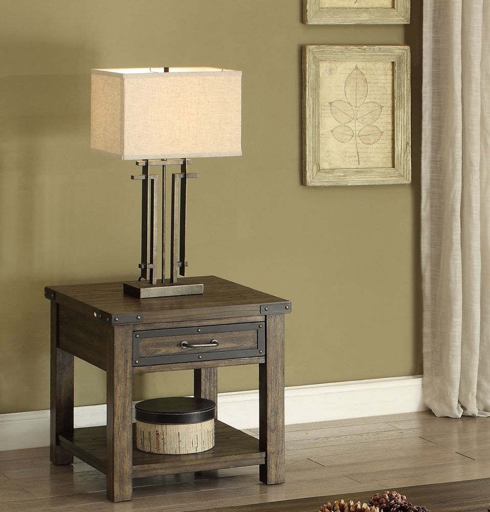 Brassex Inc. Ambassador End Table, Walnut