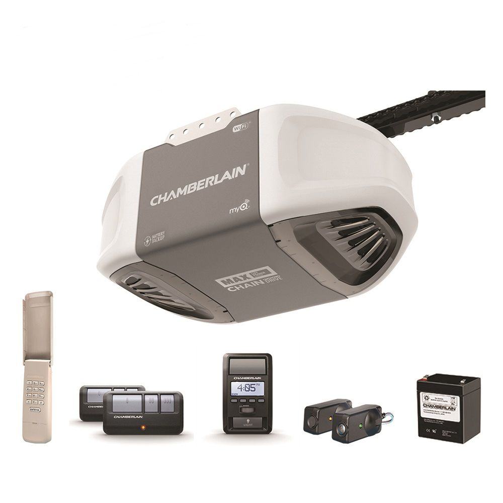 Chamberlain 1 ¼ HPS Smartphone-Controlled Durable Chain Drive Garage Door Opener w/ Battery Backup & MAX Lifting Power
