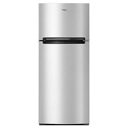 Réfrigérateur supérieur de 28 po W 18 pi3 en acier inoxydable résistant aux empreintes digitales.