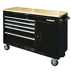 52 inch 5-Drawer w/Wood Top Lid Mobile Work Bench, Black
