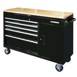 HUSKY 52 inch 5-Drawer w/Wood Top Lid Mobile Work Bench, Black