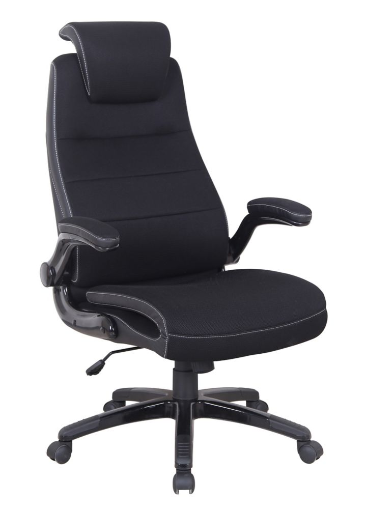 Brassex Inc. Executive Office Chair with Gas Lift & Adj. Head Rest, Black