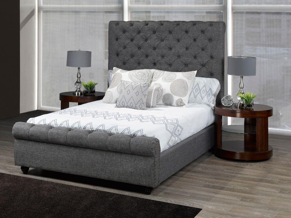 Brassex Inc. Houston Queen Platform Bed, Grey