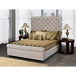 Brassex Inc. Houston Queen Platform Bed, Beige