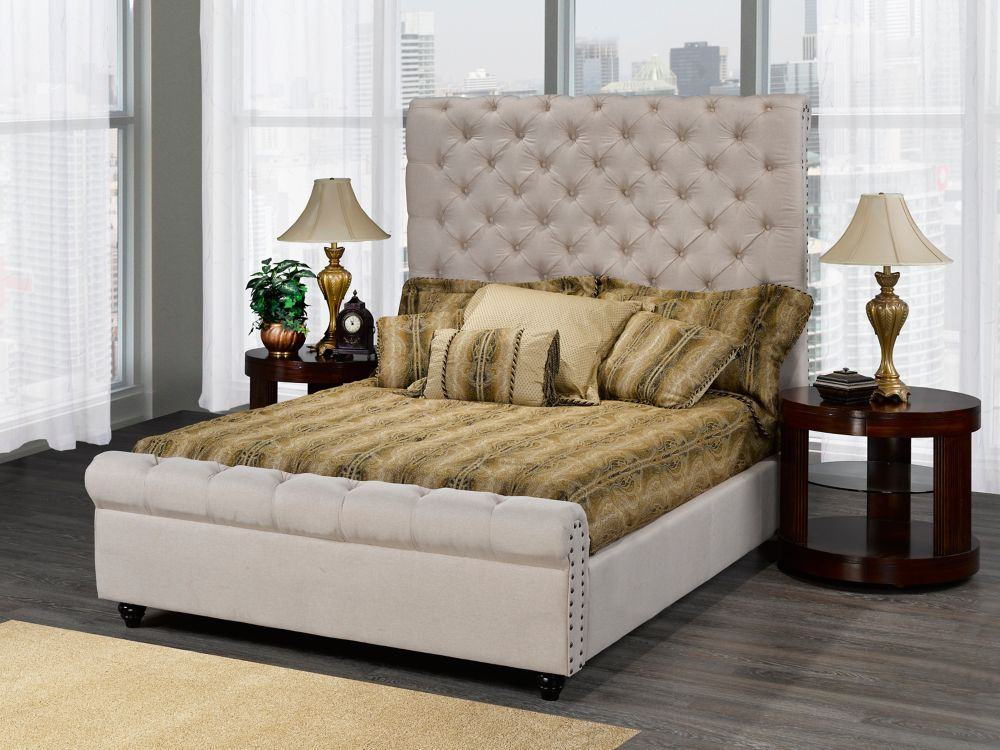 Brassex Inc. Houston King Platform Bed, Beige