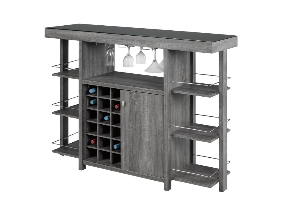 Brassex Inc. Bar with Smoked Glass Top, Grey