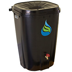 Enviro World 55 Gal. Black Rain Barrel with Brass Spigot and Rain Barrel Kit