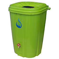 Enviro World 55 Gal. Green Rain Barrel with Brass Spigot and Rain Barrel Kit
