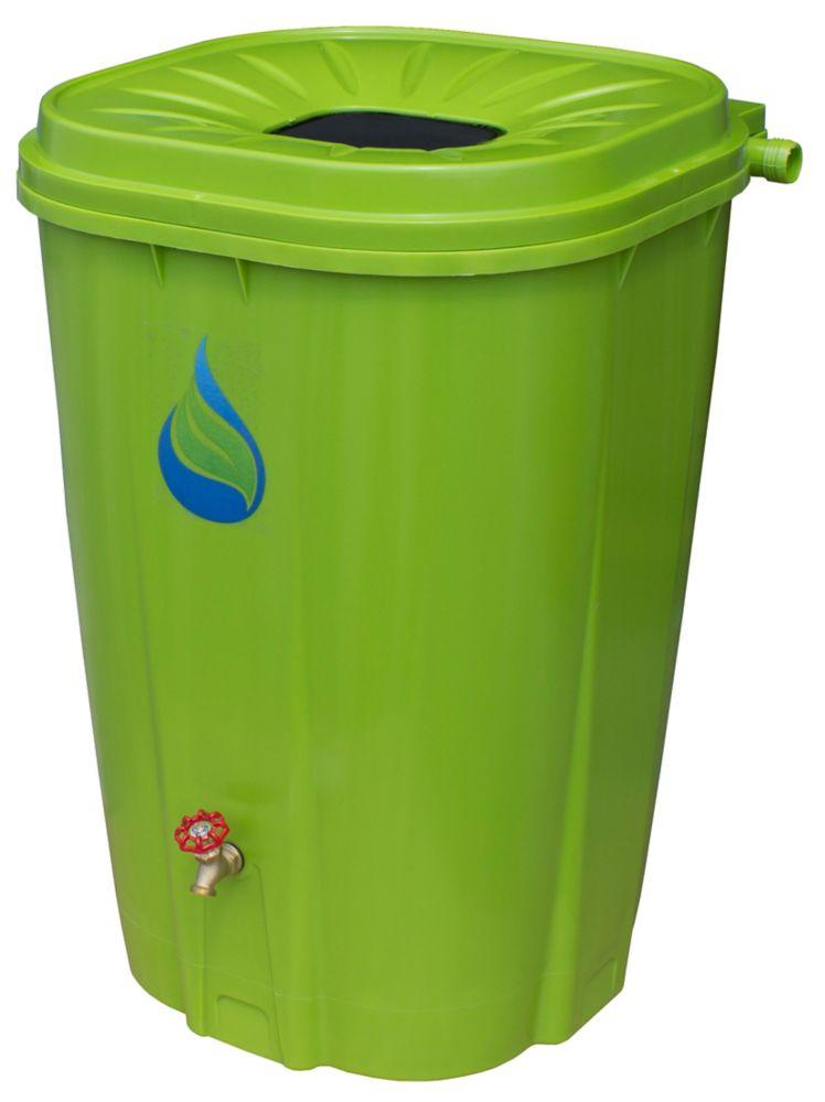 Enviro World 55 Gal. Green Rain Barrel with Brass Spigot and Rain Barrel Kit