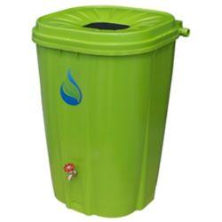 Enviro World 55 Gal. Barillet de pluie verte avec bouchon en laiton et kit baril de pluie