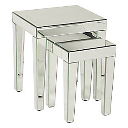 Avenue Six Reflections Nesting Tables, Silver Mirror