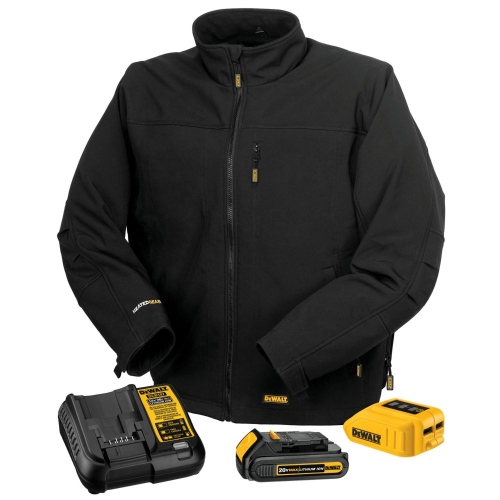 DEWALT Dewalt 12V/20V MAX Black Heated Work Jacket w/ Battery Kit - M