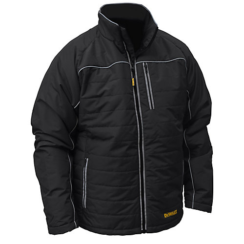 12V/20V MAX Black Mens Quilted/Heated Jacket w/ Batt Kit-S
