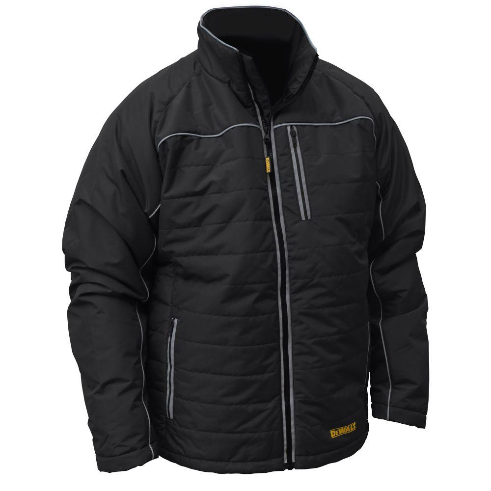 DEWALT DEWALT 12V/20V MAX Black Mens Quilted/Heated Jacket w/ Batt Kit-S