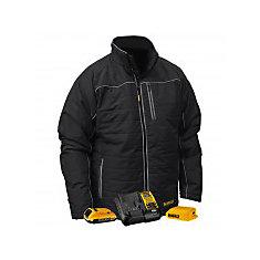 12V/20V MAX Black Mens Quilted/Heated Jacket w/ Batt Kit-2XL