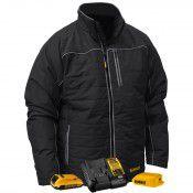 DEWALT DEWALT 12V/20V MAX Black Mens Quilted/Heated Jacket w/ Batt Kit-2XL
