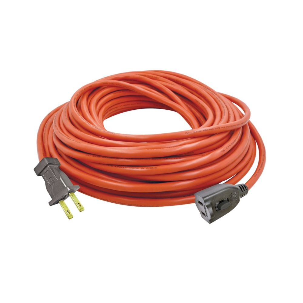 Hdx 100 Ft Indoor Outdoor Extension Cord In Orange The