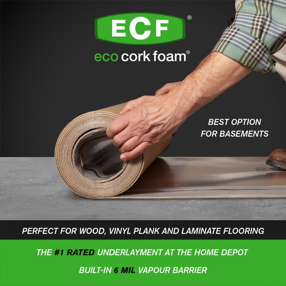 Eco Cork Foam Premium Plus All Inclusive Underlayment with Built-in 6mil Vapour Barrier 100 SF 40-inchx30ft.x3.2mm