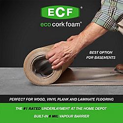 Eco Cork Foam Premium Plus All Inclusive Underlayment with Built-in 6mil Vapour Barrier 100 SF 40-inchx30ft.x3.2mm