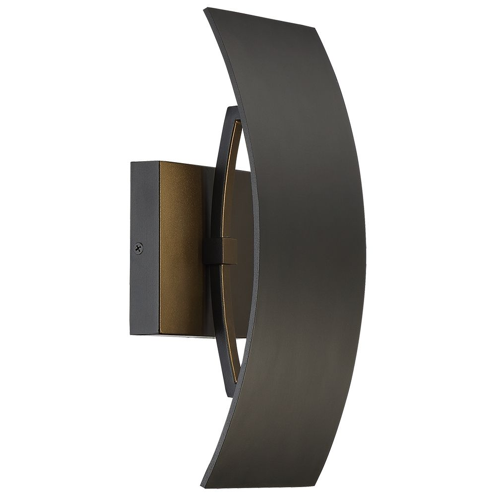 Home Decorators Collection 10W 1-Light Black Sand Intergrated LED Outdoor Wall Light with Etched Glass