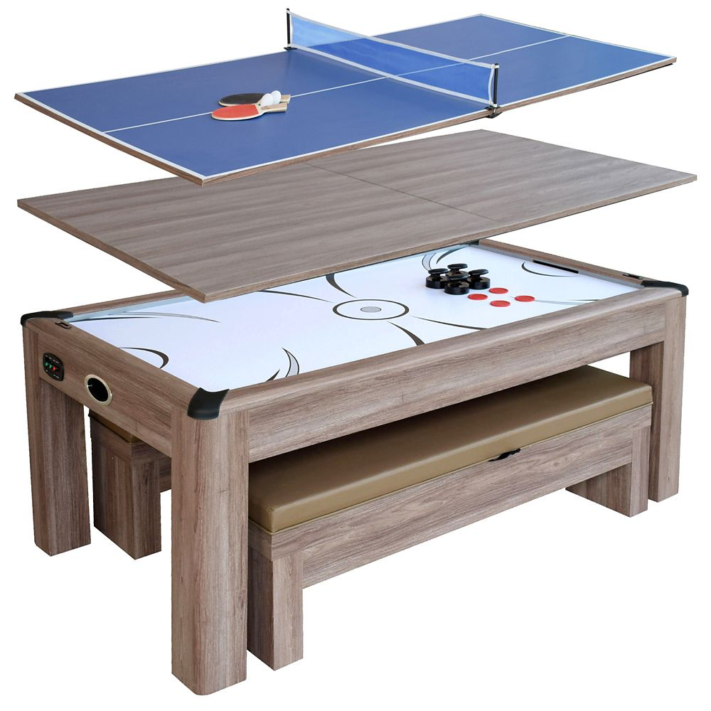 Hathaway Driftwood 7-ft Air Hockey Table Combo Set w/Benches