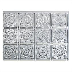 Fasade Traditional 1 Brushed Aluminum 18 inch x 24 inch PVC Backsplash Panel