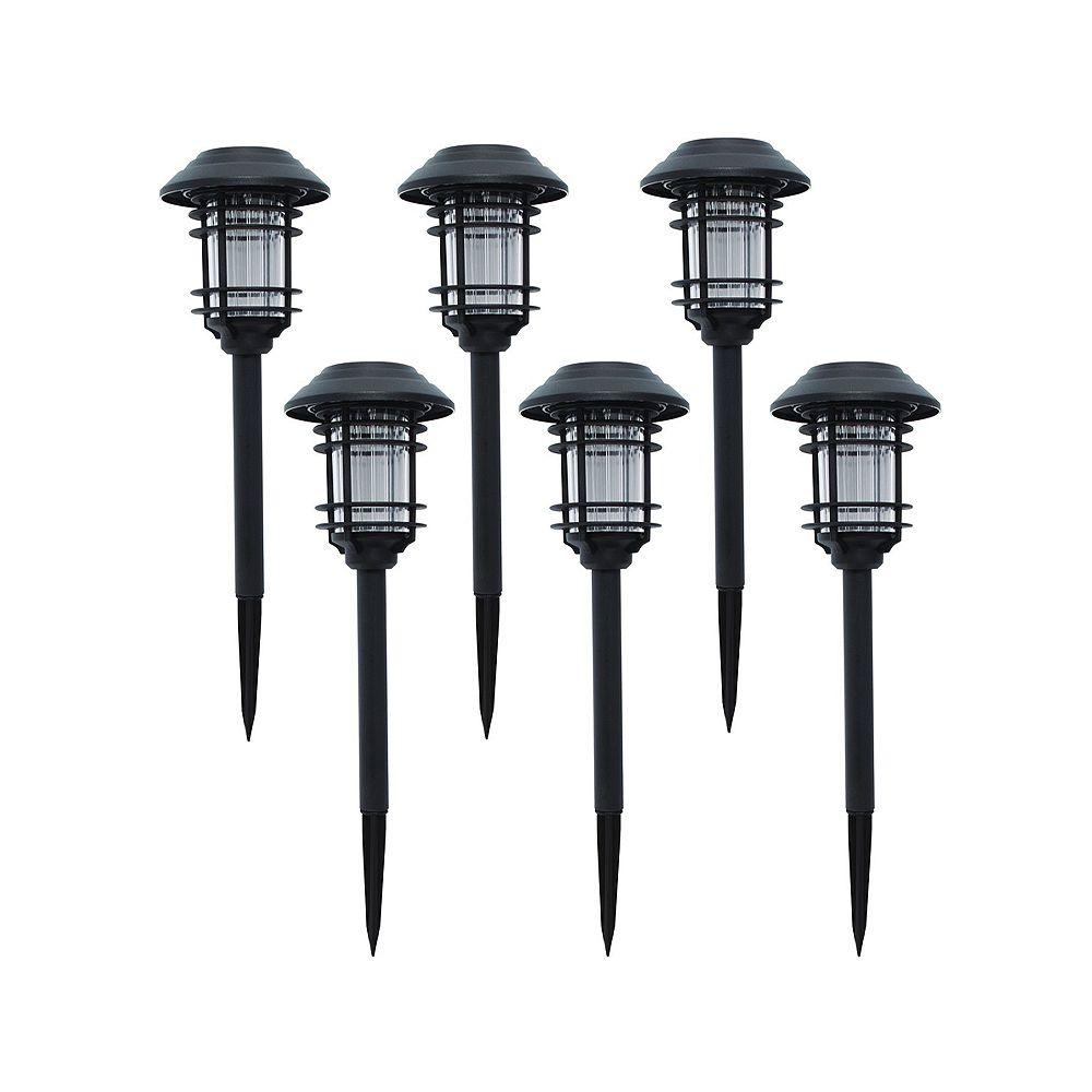 Hampton Bay Black Solar LED Path Light (6-Pack)