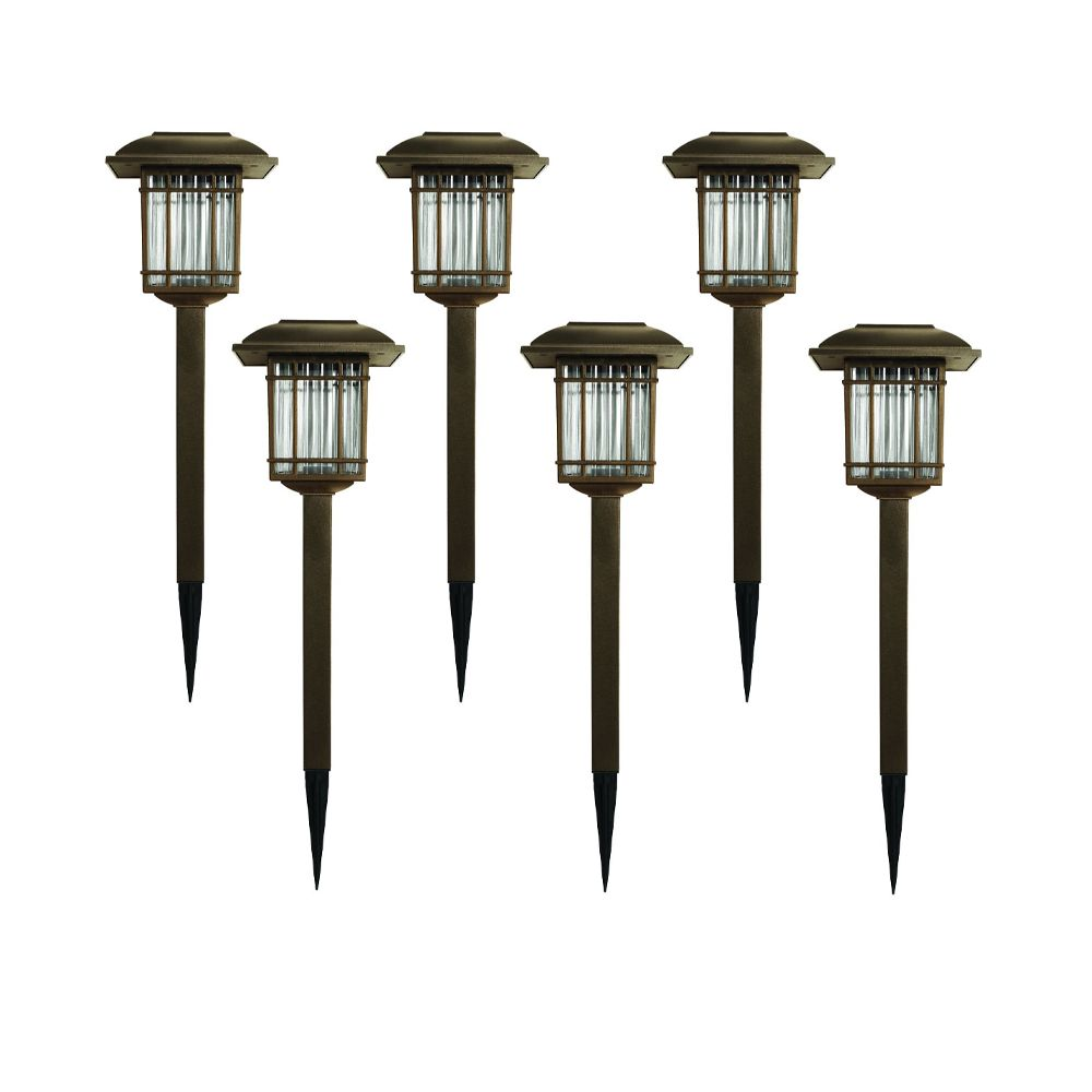 Hampton Bay 6pk Bronze Square Solar LED Path Light