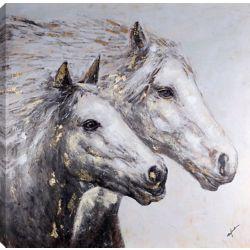 Art Maison Canada II de cheval 40 x 40, peinture acrylique sur toile, prêt à accrocher