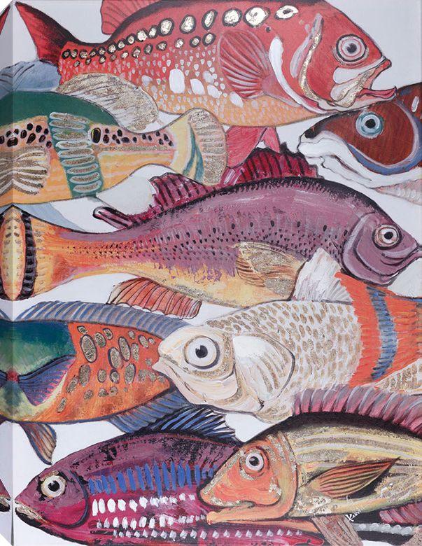 Art Maison Canada 28x40 FISH I, Acrylic Painting on Canvas, Ready to Hang