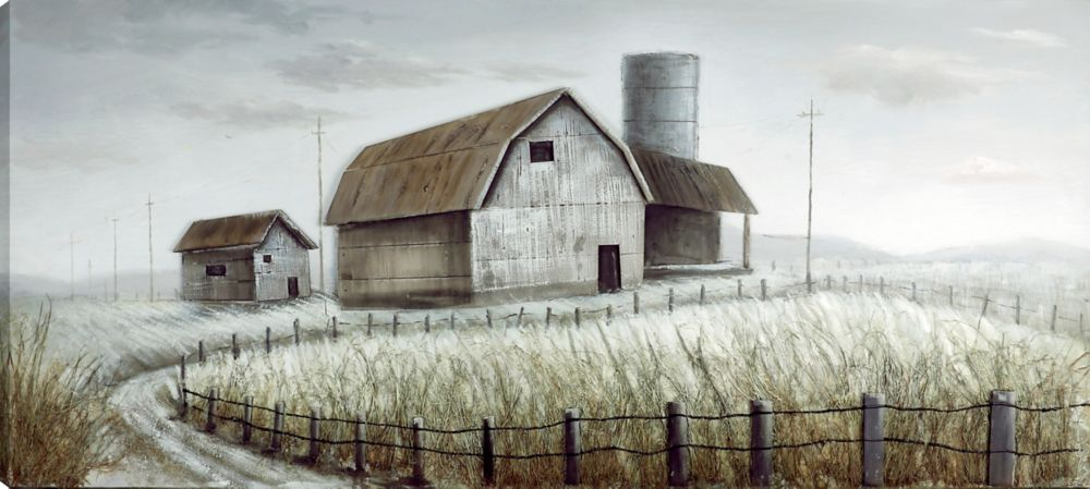 Art Maison Canada 31.5x71 FARMHOUSE I, Acrylic Painting on Canvas with 3D Elements, Ready to Hang