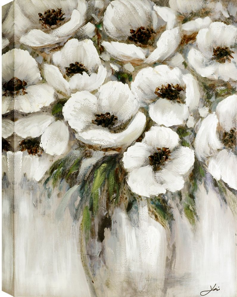 Art Maison Canada 29.5x39 WHITE VASE, Acrylic Painting on Canvas, Ready to Hang