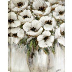Art Maison Canada 29.5x39 blanc VASE, peinture acrylique sur toile, prêt à accrocher