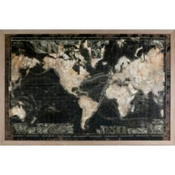 Art Maison Canada 47x71 VINTAGE MAP, Framed Print with LED Lights, Ready to Hang
