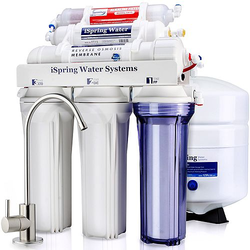 iSpring 6-Stage Superb Taste High Capacity Under Under Sink Reverse Osmosis Drinking Water Filter System with Alkaline Remineralization - Natural pH, White