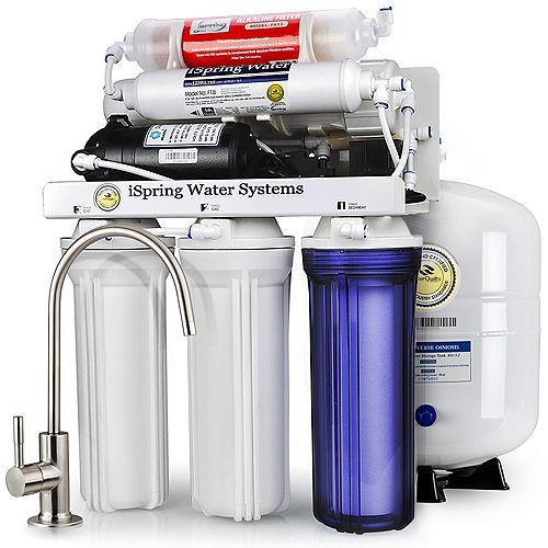 iSpring iSpring RCC7P-AK Boosted Performance Under Sink 6-Stage Reverse Osmosis Drinking Filtration System and Ultimate Water Softener with Alkaline Remineralization, and Pump