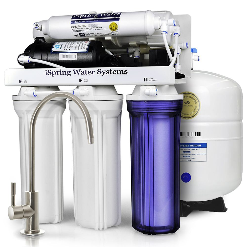iSpring RCC7P 5-Stage Reverse Osmosis Drinking Water Filtration System with Booster Pump