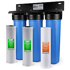 WGB32B 3-Stage Whole House Filtration System w/ 20 Inch Big Blue Sediment & Carbon Block Filters