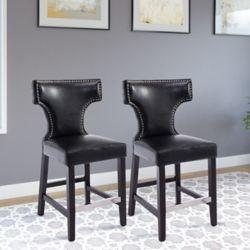 Corliving Ensemble de 2 tabourets de comptoir en couleur noire ornés avec clous décoratifs