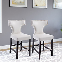 Corliving Kings Counter Height Barstool in White with Metal Studs (Set of 2)