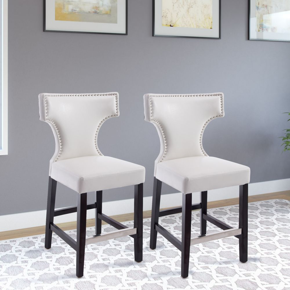 Corliving Kings Counter Height Barstool in White with Metal Studs, set of 2