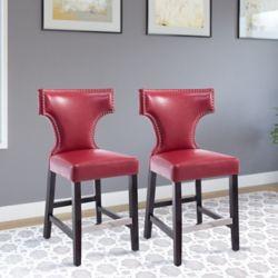Corliving Ensemble de 2 tabourets de comptoir en couleur rouge ornés avec clous décoratifs
