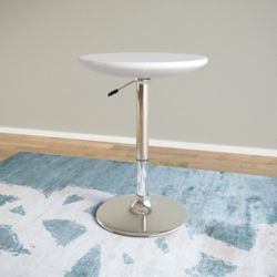 Corliving Adjustable Height Round Bar Table in Glossy White